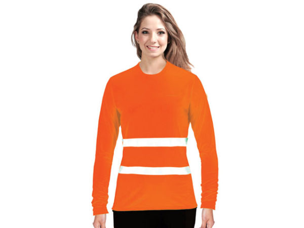 Ladies Flouro Long Sleeve Moisture Management Crew Neck Safety T-Shirt With Reflective Strip