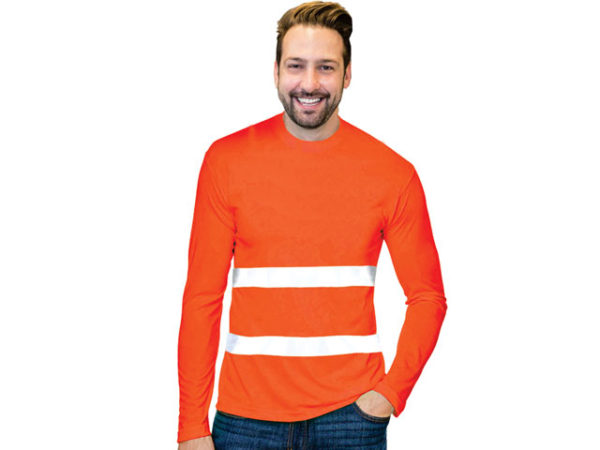 Mens Flouro Long Sleeve Moisture Management Crew Neck Safety T-Shirt With Reflective Strip